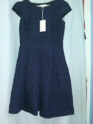 Designer Dress by Monsoon of London Size 8 Navy and Black Hand Embellished