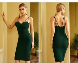 Women Green Spaghetti Strap Bandage Dress Sleeveless Midi Club Celebrity Dresses