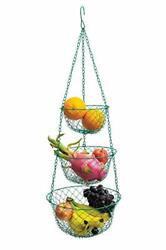 3 Tier Wire Hanging Kitchen Basket Fruit Vegetable Organizer Plant Storage Green $25.70