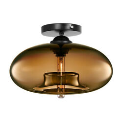 Retro Flush Mount Glass Pendant Ceiling Lampshade Round Drop Lighting Fixtures $29.88