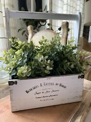 Chippy White Wood Carrier with French Writing Farmhouse Shabby Decor $19.00