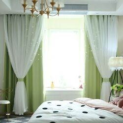 Double layer Blackout Curtains Starry Floor Curtains Kids Girls Bedroom Decor US $22.37