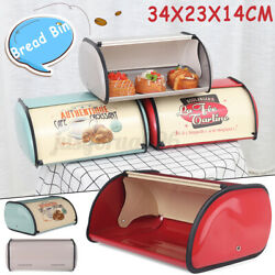 Bread Box Metal Bin Kitchen Container Cake Keeper Food Storage Roll Top Lid 14in $24.45