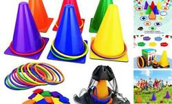 31PCS 3 in 1 Carnival Outdoor Games Combo Set for Kids Soft Plastic Cones $30.11