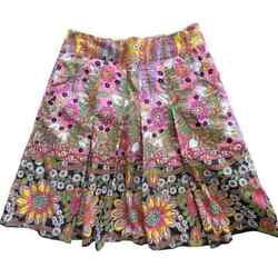 CAbi Ashbury Colorful Boho Floral Pleated Skirt Size 4 Small A Line Cotton $24.95