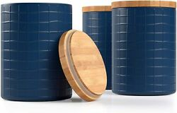 Barnyard Designs Kitchen Canisters with Bamboo Lids Airtight Metal Canister Set $39.99