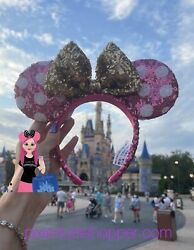 Disney Pink Sequin with White Polka Dots and Gold Bow Minnie Ear Headband $57.95