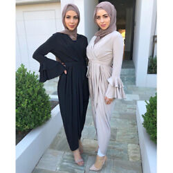Muslim Women Long Sleeve Maxi Dress Abaya Party Gown Kaftan Dubai Jilbab Ramadan $40.59