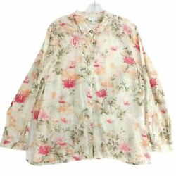 J. Jill Womens Button Down Shirt Pink Floral Long Sleeve Slit Cotton Blend XL $19.99