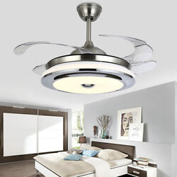 Modern 42quot; 36quot; Invisible Ceiling Fan Light LED Chandelier Lamp W Remote Lighting $107.08