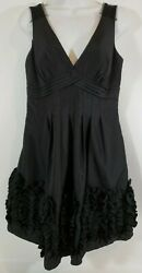NW Collections Women Black Cocktail Party Dress Sz 6 Ruffles Empire Waist V Neck $17.99