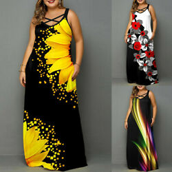 Plus Size Womens Summer Long Maxi Dress Ladies Boho Beach Holiday Baggy Sundress $26.99