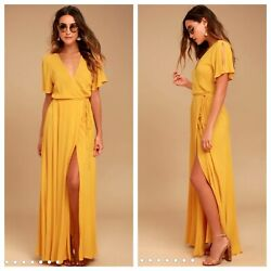 Lulu#x27;s Much Obliged Golden Yellow Maxi Wrap Dress Large $39.00