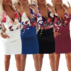 Women Floral Print Bodycon Mini Pencil Dress Ladies Sexy Slim OL Party Dresses $12.99