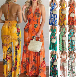 Women Beach Dress Floral Boho Backless Dress Summer Party Club Halter Maxi Dress $14.34