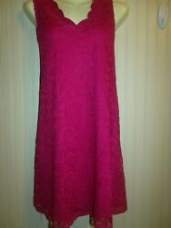 Hot pink lace open back crochet detail sleeveless party dress size med $10.49