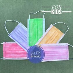 50 PACK KIDS Red Green Pink Orange Purple FACE MASKS Shipped from USA $10.20
