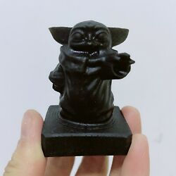 Natural black obsidian crystal Gemstone quartz yoda baby $23.00