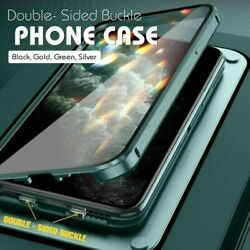 Hot Double Sided Buckle Case for iPhone 360 Magnetic Adsorption Metal Case $10.93