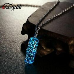 Cylindrical Pendant Necklace Luminous Crystal Glow In The Dark Charming Jewelry $8.88