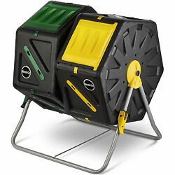 Miracle Gro DC140 70 Liter Dual Chamber Outdoor Compost Tumbler Mixer Black $84.99