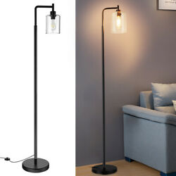 LED Standing Floor Light Indoor Tall Pole Reading Light with Hanging Glass Shade $68.95