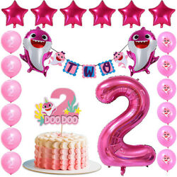 Pink Baby Shark Two Two Decorations Baby Shark Second Birthday Party for Girl $24.75