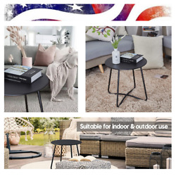 Patio Side Table Outdoor Small Round Metal Side Table Waterproof Portable Useful $61.91