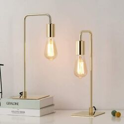 Modern Set of 2 Gold Table Desk Lamps Beside Nightstand Lamp Metal Square Base $30.99
