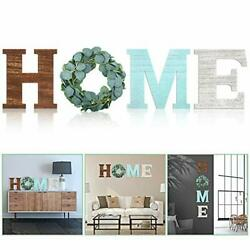 Home Decorative Sign Wall Hanging Wooden Home Signs with Green Wreath Flower $37.29