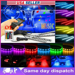 4in1 48 LED RGB Car LED Interior Atmosphere Light Strip Music Control Remote $13.89