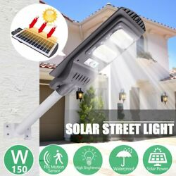 150W Commercial LED Solar Street Light Motion Sensor Dusk to DawnRemote US