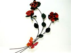 Older Vintage Red Roses Butterfly Wall Decor Metal Wall Sculpture 18x10 inch $20.00