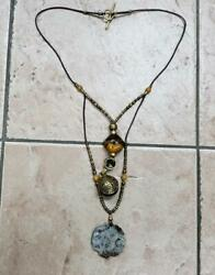 Vintage Cord Necklace With Unique Beads And Carved Jade 7 F1262 $99.99