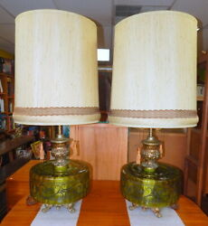 Large Pair Mid Century Modern 1950s Table Lamps Green Glass Lighouse Base $499.99