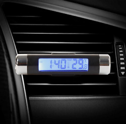 Car Time Thermometer With Blue Backlight 2In1 Vent Electronic Clock LED Clocks $8.60