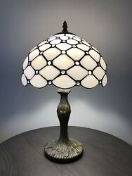 """Enjoy Tiffany Style Table Lamp Crystal Bean White Stained Glass Vintage 19""""H12""""W $105.99"""