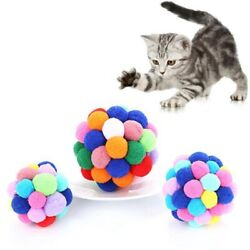 1pc Plush Bouncy Ball For Pet Dog Cat Kitten Gifts Play Activity Fun Chew Toys
