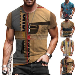 Mens Vintage Printed Short Sleeve T Shirt Blouse Summer Casual Fitness Tops Tee $17.28