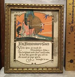 "Antique Framed ""For Friendship's Sake"" Print $7.00"