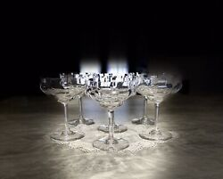 """6 CAPRI OPTIC Crystal by Baccarat Champagne 5.25"""" tall made in France $250.00"""