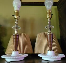 Handsome pair Vintage Lamps milk glass base and accordion style shades *rewired* $89.00