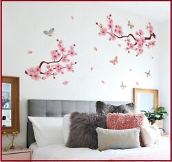 Pink Peach Blossom Romantic Butterfly Flower Home DIY PVC Wall Stickers Decor $6.49