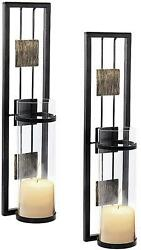 Shelving Solution Wall Sconce Candle Holder Metal Wall Decorations Set Of 2 $39.13