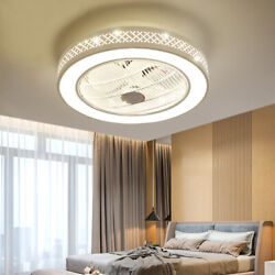 LED Modern Acrylic Ceiling Fan Light 22 Inch White Round Dimmable Light 3 Speed $124.00
