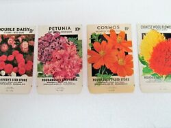 4 Vintage Flower Seed Packets NOS Empty Envelopes $7.95