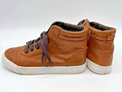 Old Navy Size 5 Boys High Top Sneakers Boots Brown Shoes FAST SHIPPING $16.10