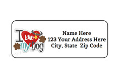 30 I LOVE MY DOG PERSONALIZED RETURN ADDRESS LABELS 1 in X 2.625 in $2.75