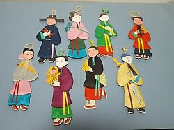 Vintage 8 Chinese Paper Cloth Doll Ornaments People#x27;s Republic of China $24.25