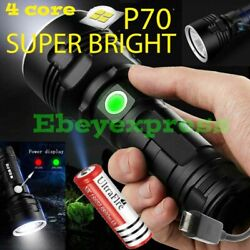Super Bright 90000LM Flashlight CREE LED P70 Tactical Torch LED Recharge Battery $18.95
